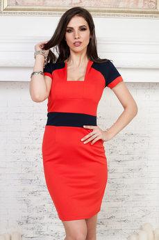 ХИТ продаж: красное платье с короткими рукавами Angela Ricci
