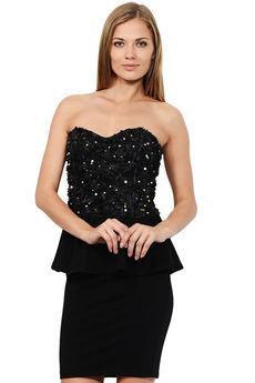 Черное платье бандо Mondigo