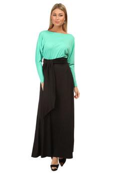 Платье в пол с черным поясом Mondigo