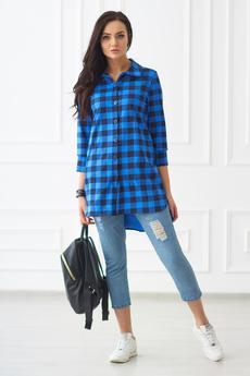Женская синяя рубашка в клетку Шарлиз