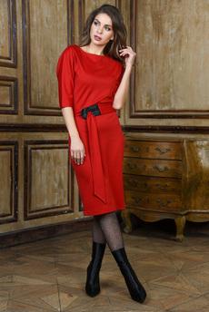 Красное платье с поясом Mondigo